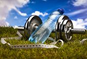 Fitness, dumbell and blue sky