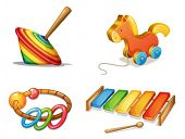 image of idiophone  - illustration of various toys on a white background - JPG