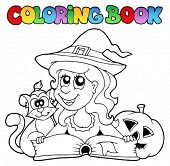Coloring book Halloween topic 6 - vector illustration.