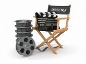 Movie industry. Producer chair, �?�?�?�±lapperboard and film reel. 3d