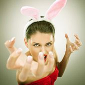 evil bunny woman screaming and reaching to get you - vintage look picture