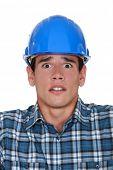 Worried construction worker