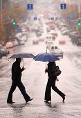 foto of pedestrian crossing  - urban people cross the street on the rain - JPG