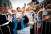 MOSCOW - 15 SEPTEMBER: A old woman takes part in an anti-Putin protest in central in Moscow on Septe