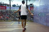 DAMANSARA - SEP 15: Tarek Momen appeals the umpire's decision at the men's final of the CIMB Malaysi