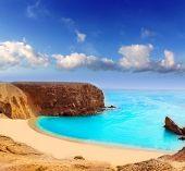 stock photo of papagayo  - Lanzarote El Papagayo Playa Beach in Canary Islands - JPG