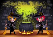 Funny witches with pot. Cartoon and vector illustration.  Proportions in A3 - A4 - 50x70