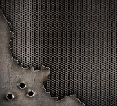 stock photo of gunshot  - metal with bullet holes background - JPG