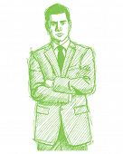 Vector Sketch, comics style man businessman in suit, with folded hands, looking on camera