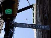 NEW YORK - SEPT 17: A helicopter hovers above Rector St and Broadway during the 1yr anniversary of t