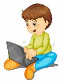 illustration of a laptop and boy on a white background