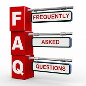 3D Modern Signboard Of Faq
