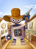 Illustration of a robot wearing a hat and holding a gun