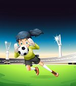 Illustration of a female football player