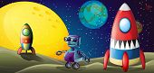 stock photo of outerspace  - Illustration of the two spaceships and a purple robot in the outerspace - JPG