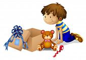 Illustration of a boy looking at the box on a white background