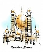Illustration of Mosque. Translation: Ramadan Kareen - May Generosity Bless You During The Holy Month