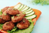 picture of pork cutlet  - Fried cutlets with cucumber and watercress salad - JPG
