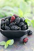 foto of mulberry  - Ripe black mulberry on a black plate - JPG