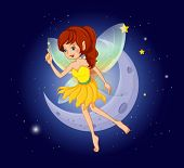 Illustration of a pretty fairy at the sky near the moon