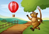 Illustration of a bear running after the hot air balloon