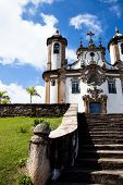 image of assis  - View of the Igreja de Sao Francisco de Assis of the unesco world heritage city of ouro preto in minas gerais brazil - JPG