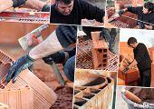 Mosaic of mason working on site