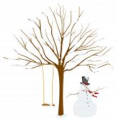 Tree in Winter with Snowman