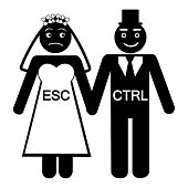 Bride ESC groom CTRL icon vector
