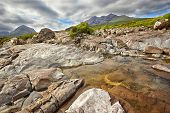 view on Sgurr nan Gillean, Am Basteir and Sgurr a Bhasteir from Sligachan River, Isle of Skye, Scotl