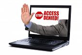 Stop gesture through a laptop screen concept for internet censorship and access denied