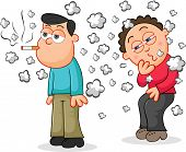image of addiction to smoking  - Cartoon man smoking a cigarette while another man is coughing from the smoke - JPG