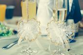 Wedding glasses and champagne