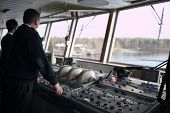 Navigation officer driving cruise liner