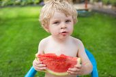 Adorable Little Toddler Boy With Blond Hairs Eating Watermelon In Garden
