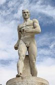 image of mussolini  - Statue of a runner in the Marble Stadium of Rome - JPG