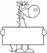 Outlined Horse Cartoon Mascot Character Holding A Banner