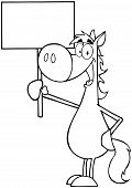 Outlined Happy Horse Holding Up A Blank Sign
