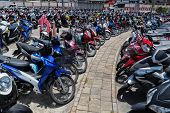 Many Motorbikes At The Parking