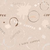 Grunge coffee seamless pattern with text