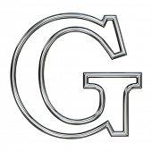 símbolo do alfabeto G com contorno de tubo cromado