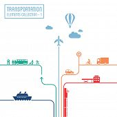 Transportation infographics - graphic elements collection 1, all means of transport