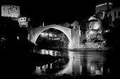 Mostar Bridge at night, Mostar Bosnia and Herzegovina - Night scene in black and white tone