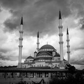 Ankara, Turkey - Kocatepe mosque in a dramatic sky - Black and White toned