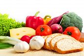 stock photo of healthy food  - Assorted healthy food on white background close up - JPG