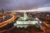 Moskva River and Russian government building at evening in Moscow, Russia.