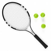 Tennis racket and ball isolated