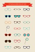 Hipster Retro Vintage Glasses Icon Set Illustartion Colorful