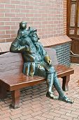 Sculpture Of The Old Skipper With A Monkey On His Shoulder. Fishing Village, Kaliningrad, Russia