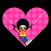 image of uzi  - Cartoon disco cupid and heart - JPG